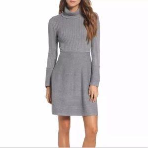 Eliza J New Turtle Neck Ribbed Sweater Knit Dress